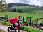 a red pram in the scottish countryside