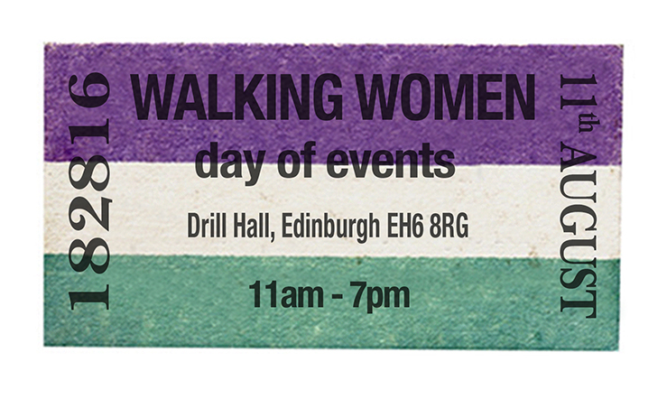 a poster in suffragette colours of purple white and green with the event details for walking women at forest fringe